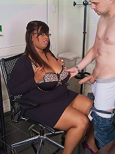 Gorgeous black BBW boss seduces...