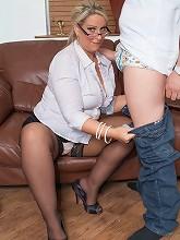 Glamorous chubby salesgirl in hot...
