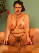 Horny fat mature pornstar jumps on...