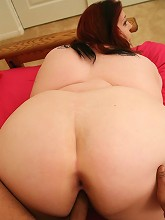 Redhead hog bending over to have...