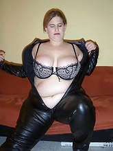 bbw bitch in leather catsuit